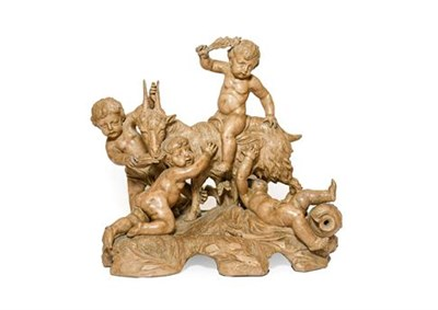 Lot 231 - Manner of Clodion: A Terracotta Bacchic Group, as four putti about a goat, on a rocky moulded base