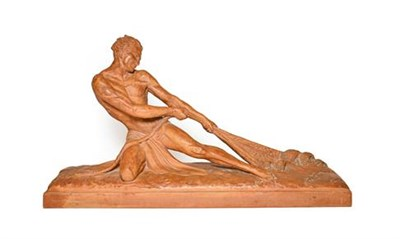Lot 233 - After Ugo Cipriani (1887-1960): A Terracotta Figure of a Fisherman, kneeling, hauling in a net,...