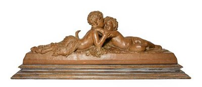 Lot 234 - After Joseph D'Aste (1881-1945): A Terracotta Bacchic Group, as two recumbent children...