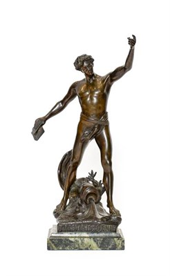 Lot 235 - After Henri Fugère (1872-1944: TRIOMPHE GENIE, A Bronze Figure of a Youth, wearing a loin...