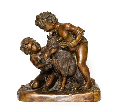 Lot 236 - French School (late 19th/early 20th century): A Bronze Bacchic Group, as two cherubs feeding a...