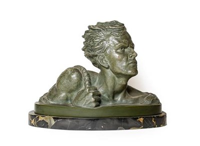 Lot 237 - French School (early 20th century): A Bronzed Terracotta Bust of a Youth, with a rope over his...