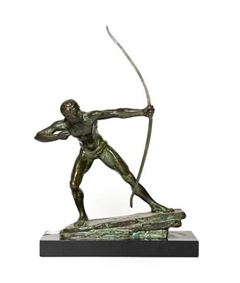 Lot 238 - French School (20th century): A Bronze Figure of a Classical Archer, standing with bow drawn,...