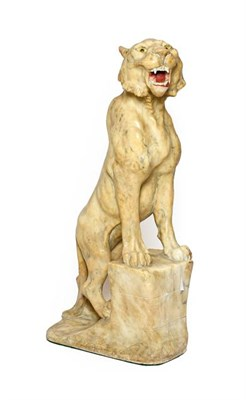 Lot 239 - Italian School (early 20th century): A Carved Alabaster Figure of a Seated Lioness, with glass eyes