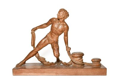 Lot 241 - De Ronnens: A Terracotta Figure of a Youth, hauling rope onto capstans, on a rectangular...
