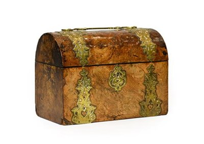 Lot 251 - A Victorian Brass Bound Walnut Domed Top Stationery Box, with scroll handle and applied...