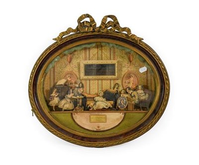 Lot 252 - A French Printed Card Diorama, mid 19th century, depicting children and a dog in a drawing room...