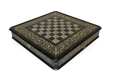 Lot 254 - An Italian Ebony and Ivory Inlaid Chess Board, by Ferdinando Pogliani, circa 1880, of canted...