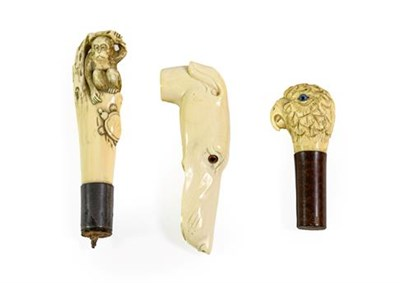 Lot 260 - An Ivory Walking Stick Handle, late 19th century, naturalistically carved as the head of a...