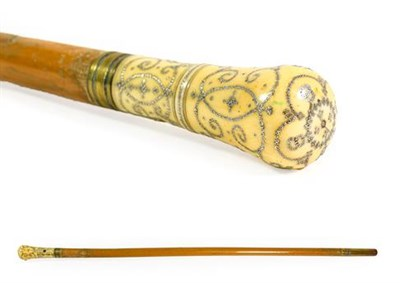 Lot 261 - An Ivory and Pique Mounted Malacca Walking Cane, dated (16)88, and initialled R.C. with brass...