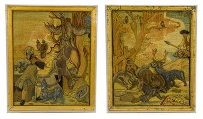 Lot 262 - A Pair of Stumpwork Pictures, early 18th century, worked in coloured and metal threads with hunting