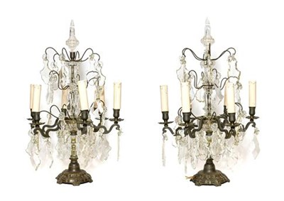Lot 265 - A Pair of French Brass-Mounted Metal Six-Light Candelabra, in Louis XV style, with minaret...