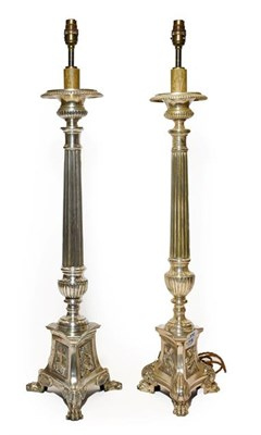 Lot 266 - A Matched Pair of Italian Silver Plate Altar Candlesticks, in 16th century style, with circular...