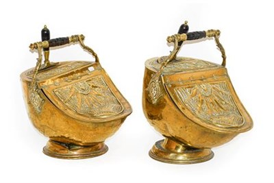 Lot 275 - A Pair of Victorian Brass Coal Purdoniums and Shovels, of helmet form, stamped with classical...