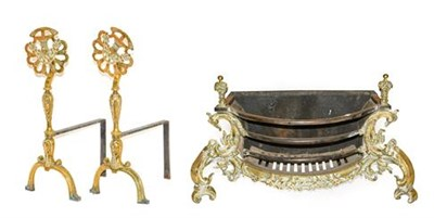Lot 276 - A Pair of Andirons, in 18th century style, with basket and foliate finials, baluster stems and...