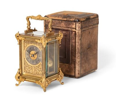 Lot 277 - A Brass Striking Repeating Carriage Clock, signed Carrington, 130 Regent St, London, circa...
