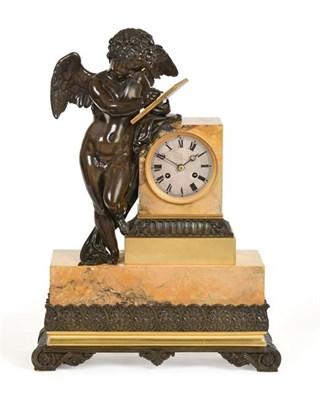 Lot 280 - A French Sienna Marble and Bronze Striking Mantel Clock, circa 1860, bronze winged cherub...