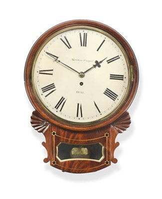 Lot 282 - A Mahogany Drop Dial Wall Timepiece, signed Matthew Cooper, Hull, 19th century, side and bottom...