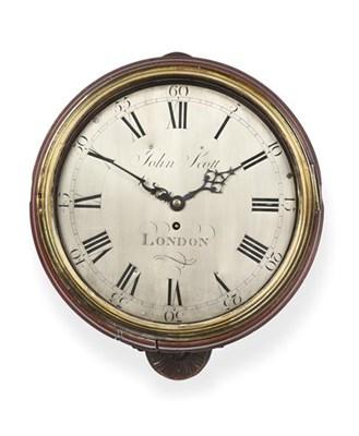 Lot 283 - A Mahogany Wall Timepiece, signed John Scott, London, late 18th century, side and bottom doors,...