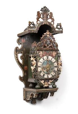Lot 284 - A Polychrome Painted Dutch Stoelklok Striking Wall Clock, late 18th century, the elaborate case...