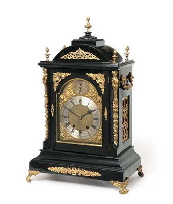 Lot 286 - A Victorian Ebonised and Gilt Metal Mounted Chiming Table Clock, circa 1890, arched pediment...