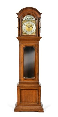 Lot 288 - An Oak Tubular Bell Chiming Longcase Clock, early 20th century, arched pediment, bevelled glass...