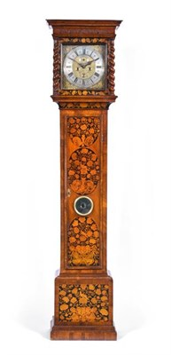 Lot 291 - A Walnut Marquetry Eight Day Longcase Clock, signed Jos Foster, London, circa 1700, flat top...