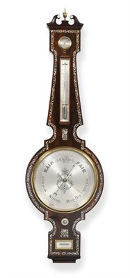 Lot 293 - A Victorian Rosewood and Mother Of Pearl Inlaid 12-inch Dial Wheel Barometer, signed G.Edwards...