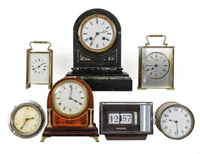 Lot 41 - A Victorian marble striking mantle clock, a Smith dash board timepiece, a brass carriage timepiece