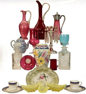Lot 42 - A quantity of ruby glassware, vaseline pieces, a Poole vase, pair of candlesticks, etc (two...