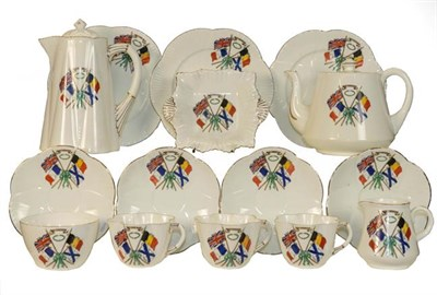 Lot 43 - A WWII era late Shelley Foley for Freedom part teaset, decorated with flags of Britain, France,...