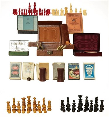 Lot 49 - Two trays of assorted games and cards, including a turned wooden chess set, and a 19th century...