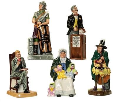 Lot 51 - Royal Doulton figures comprising: Antique Dealer, HN4424, The Auctioneers, HN2988, The Mask Seller.
