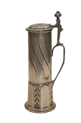 Lot 56 - A pewter stein, late 19th century, of elongated form