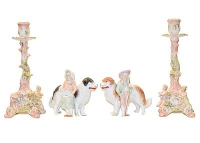 Lot 65 - A quantity of Sitzendorf porcelain including a pair of figural four branch candelabra, a mirror...