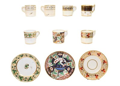Lot 69 - A collection of 19th century Spode, Derby and Bloor Derby coffee cans, and saucers etc (one tray)