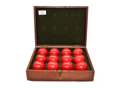 Lot 71 - A Burrows and Watts cased part set of Victorian stained ivory billiard balls, comprising twelve red