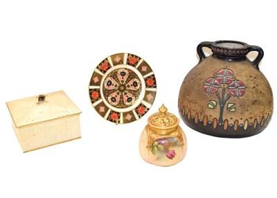 Lot 72 - A Royal Worcester pot pourri, a Royal Doulton honey pot, a Royal Crown Derby Imari plate, and...