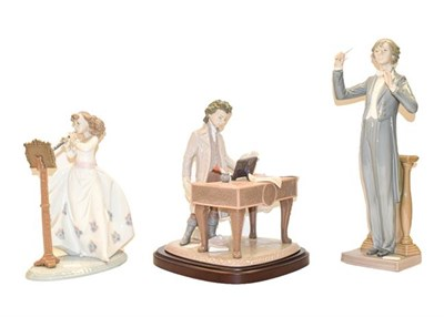 Lot 76 - Three Lladro figures, conductor, clarinetist, and Beethoven at the keyboard, signed (3)