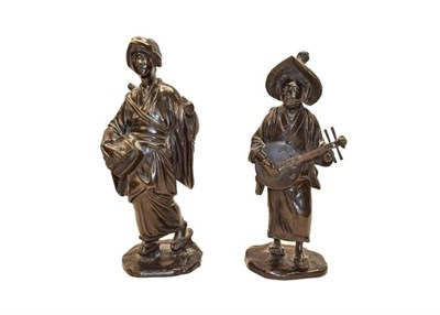 Lot 77 - A pair of Chinese bronze musicians, both stamped, late 19th century (one a.f.) (tallest 26cm) (2)