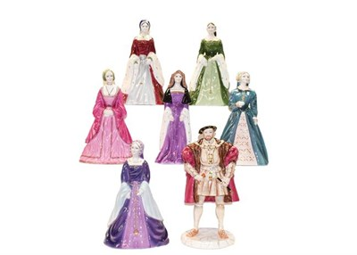 Lot 82 - A set of Coalport Henry VIII and six wives, boxed and with certificates