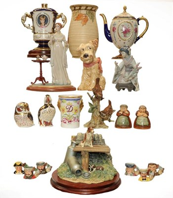 Lot 83 - An assorted lot of ceramics, Royal Crown Derby paperweights, Charlotte Rhead, Lladro, Sylvac,...