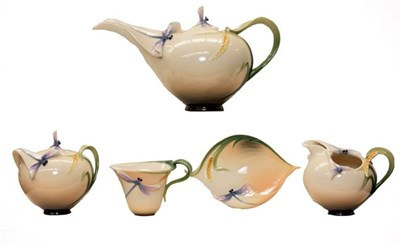 Lot 92 - A Franz porcelain teaset decorated with dragonflies and wheat sheaves (one tray)