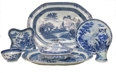 Lot 94 - A 19th century Wedgwood blue and white footed dish decorated with gentlemen fishing, two blue...