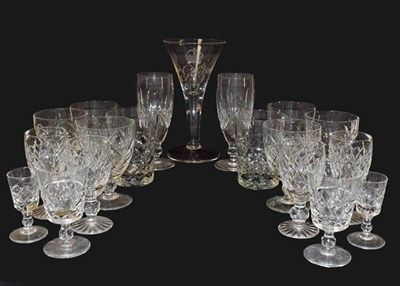 Lot 95 - A group of drinking glasses including Waterford, Brierley, Edinburgh, Webb etc (two boxes and...