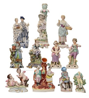 Lot 96 - A pair of King Street Derby figures of a boy and girl together with a quantity of other china...