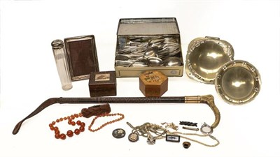 Lot 97 - A group of silver plated cutlery, dishes and costume jewellery; with a 9 carat gold mounted...