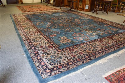 Lot 1002 - Isparta carpet, the mid indigo field with a one way tree of life design, enclosed by floral...