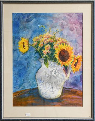 Lot 1015 - Sue Loder (contemporary) study of sunflowers in a white jug, mixed media, signed and dated...