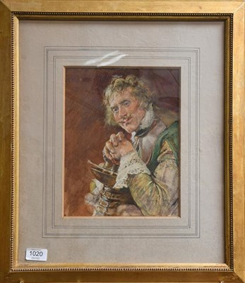 Lot 1020 - Edgar Bundy (1862-1922), A soldier, signed, mixed media, 27cm by 21cm